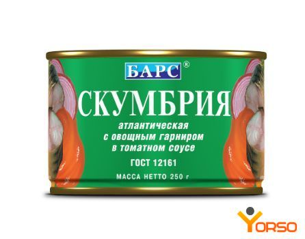 Mackerel in tomato sauce with vegetables, 250 g